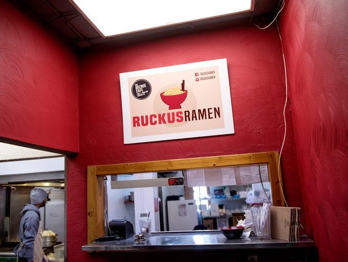 The front ordering window of Ruckus Ramen photographed