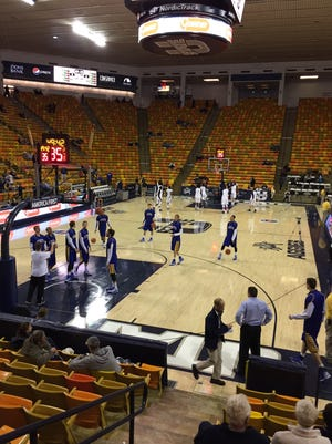 SDSU warms up prior to the championship game of the World Vision Classic in Logan, Utah.