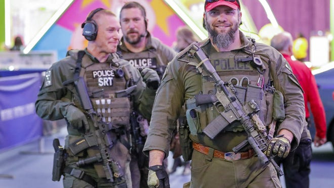 A SWAT team with the .S.Department of Homeland Security patrols at the National Football League's Super Bowl Experience in Minneapolis, Minnesota, on Feb. 1, 2018.