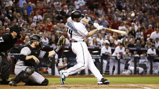 Arizona Diamondbacks Paul Goldschmidt hits a 3-run home run against the Colorado Rockies in the 1st inning during the National League Wild Card game on Wednesday, Oct. 4, 2017 at Chase Field in Phoenix, Ariz.