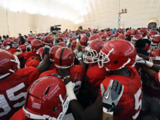 Rutgers Student Appreciation Day, where students came out watch the football team practice from the sidelines inside of the indoor practice facilities on the Rutgers campus in Piscataway on Saturday April 16, 2016