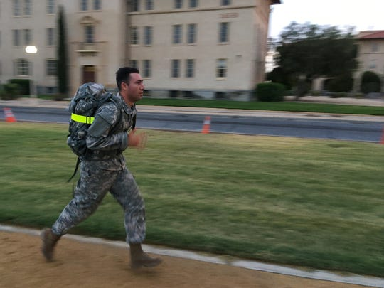 Many of the candidates for the German Proficiency Badge ran instead of walked during the timed ruck march.