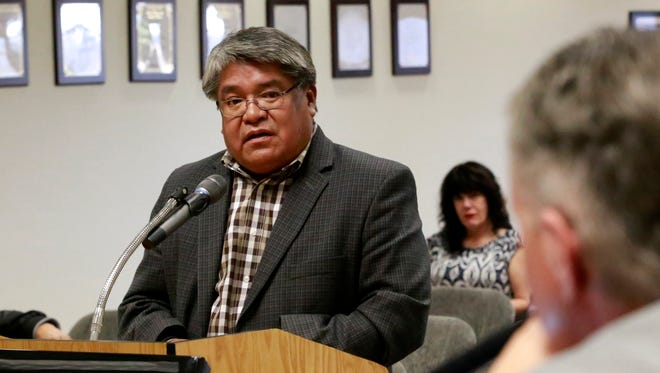 Jesse Delmar, director of the Navajo Division of Public Safety, speaks to San Juan County Commissioners on Tuesday at the San Juan County Administration Building in Aztec.