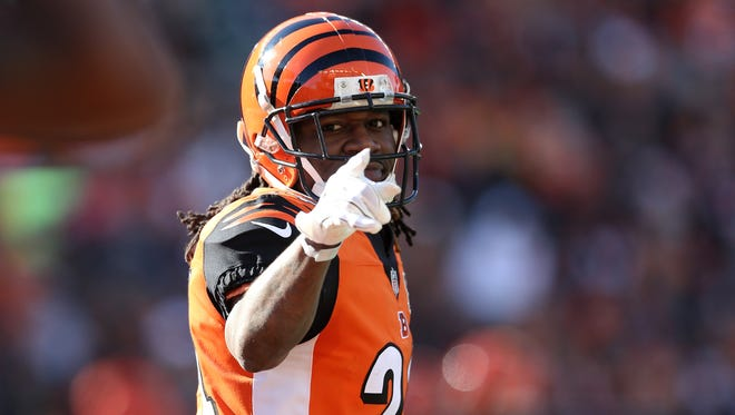Cincinnati Bengals cornerback Adam Jones (24) points to an official in the first quarter during the Week 12 NFL game between the Cleveland Browns and the Cincinnati Bengals, Sunday, Nov. 26, 2017, at Paul Brown Stadium in Cincinnati.