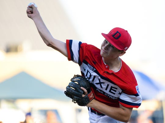 Utah's Kyler Terry (5) makes a pitch on Saturday night against Southern California in the Little League West Regional Tournament championship game.