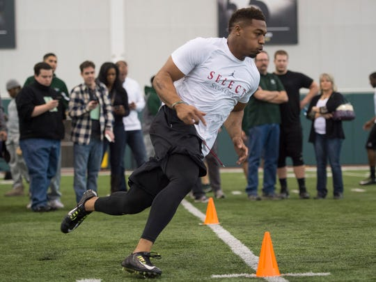 CSU linebacker Cory James runs through a drill during pro day at the indoor practice facility Wednesday, March 9, 2016.