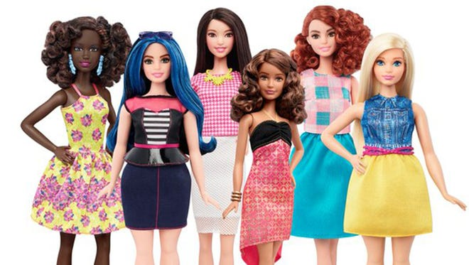 Mattel, the maker of the iconic plastic doll, said it will begin selling Barbie in three new body types -- curvy, tall, and petite. She'll also be available in seven skin tones, 22 eye colors and 24 hairstyles.