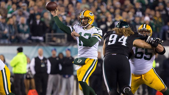 Quarterback Aaron Rodgers passes against the Philadelphia Eagles.