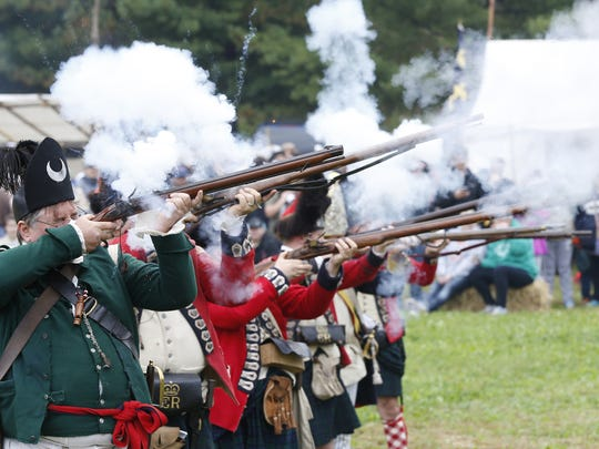 Members of the Northwest Territory Alliance with tactical demonstration during the Feast of the Hunters' Moon at Fort Ouiatenon.