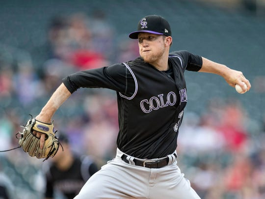 Colorado Rockies lefthander Kyle Freeland is 7-3 with a 3.34 earned-run average this year in his rookie season. Freeland was a first-round draft pick out of Evansville in 2014.