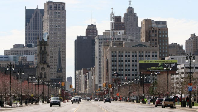 Looking south on Woodward Avenue to downtown Detroit in April 2014.