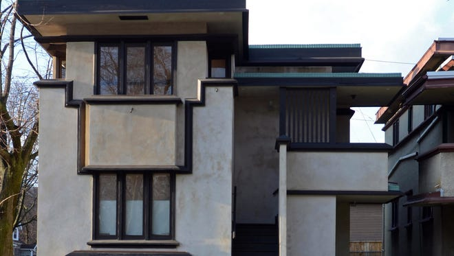 This American System-Built Two Flat Model C duplex was designed by Frank Lloyd Wright.