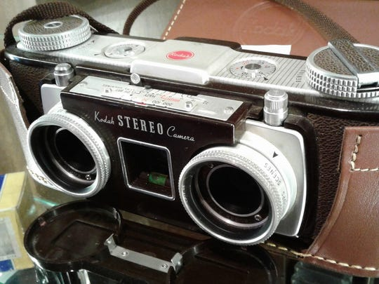 This stereo camera with two lenses shot pairs of images that produced a 3-D effect when viewed through special slide viewers.  They were popular only for a few years in the 1950s, but Kodak was said to have sold 100,000 of them.