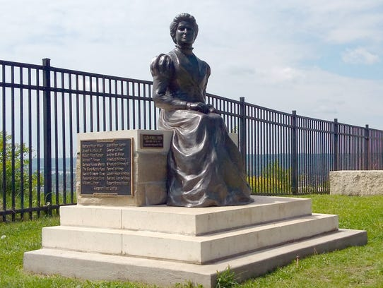 A sculpture of Ellen Hixon sits at the top of Granddad