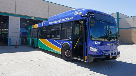 """A new Milwaukee County Transit System bus waits for final work to be done at the fleet maintenance garage, 1525 W. Vine St., before it can be driven on routes. A Public Policy Forum report, """"A Fork in the Road,"""" says nearly one-third of county buses need to be replaced."""