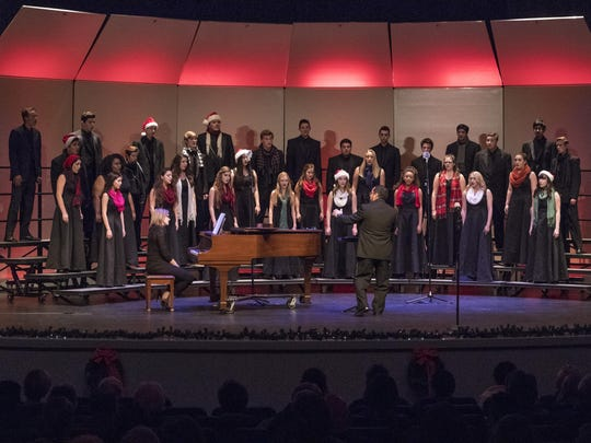 Redwood High School Chamber Singers perform at Central Valley Christian High School during the 2016 Chamber Holiday Festival Concert on Tuesday, November 29, 2016. The event is presented by the American Legion Sierra Post 785 and featured performances by El Diamante Chamber Singers, University Preparatory High School Choir, Mt. Whitney Chamber Ensemble, Golden West Chamber Singers, Central Valley Christian School, Redwood High School Chamber Singers and College of the Sequoias Chambers Singers. Proceeds from the ticket sales go to support each of the school's music program.