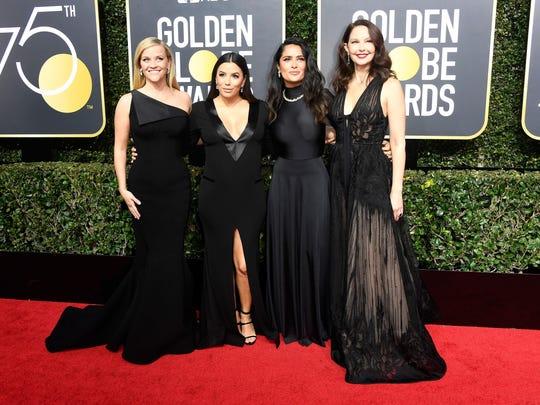 Black Attire Solidarity Dominate Golden Globes Red Carpet