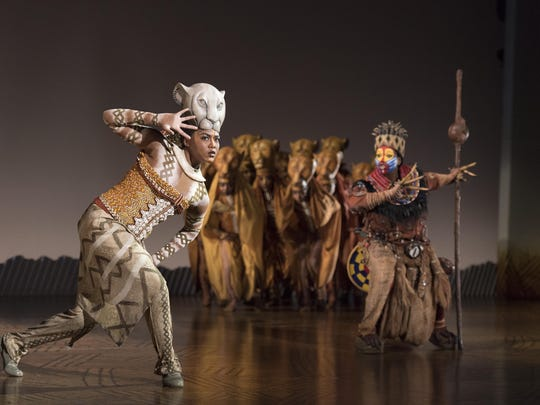 """Nia Holloway as """"Nala,"""" Buyi Zama as """"Rafiki"""" and """"The Lionesses"""" in THE LION KING North American Tour."""