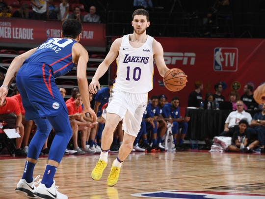 LAS VEGAS, NV - JULY 7:  Svi Mykhailiuk #10 of the Los Angeles Lakers handles the ball against the the Philadelphia 76ers during the 2018 Las Vegas Summer League on July 7, 2018 at the Thomas & Mack Center in Las Vegas, Nevada. NOTE TO USER: User expressly acknowledges and agrees that, by downloading and/or using this Photograph, user is consenting to the terms and conditions of the Getty Images License Agreement. Mandatory Copyright Notice: Copyright 2018 NBAE (Photo by Garrett Ellwood/NBAE via Getty Images)