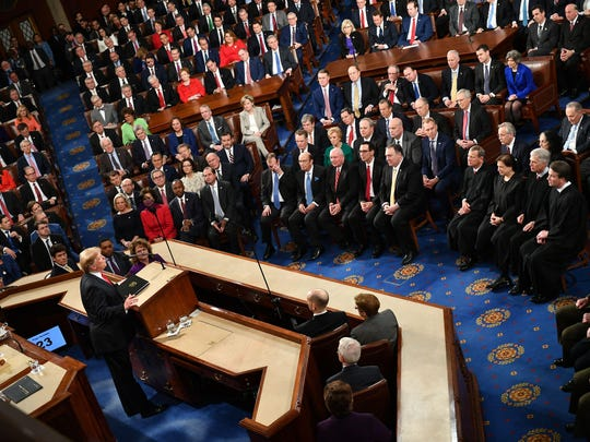 President Donald Trump faces lawmakers from both political parties as he delivers his second State of the Union address at the US Capitol in Washington, DC, on February 5, 2019.