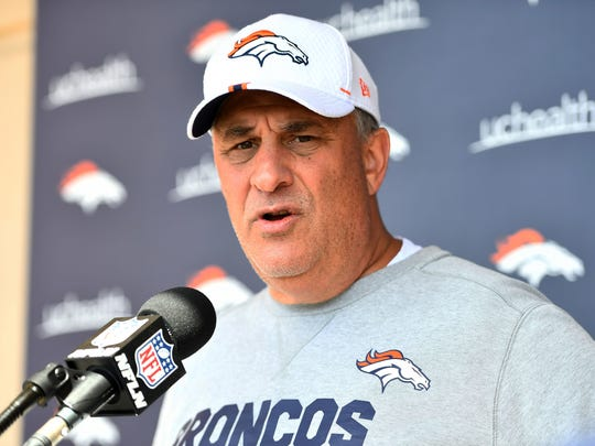 Jun 4, 2019; Denver, CO, USA; Denver Broncos head coach Vic Fangio speaks to members of the media after mini camp drills at the Pat Bowlen Fieldhouse at UCHealth Training Center. Mandatory Credit: Ron Chenoy-USA TODAY Sports