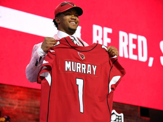 Apr 25, 2019; Nashville, TN, USA; Kyler Murray (Oklahoma) is selected as the number one overall pick to the Arizona Cardinals in the first round of the 2019 NFL Draft in Downtown Nashville. Mandatory Credit: Christopher Hanewinckel-USA TODAY Sports