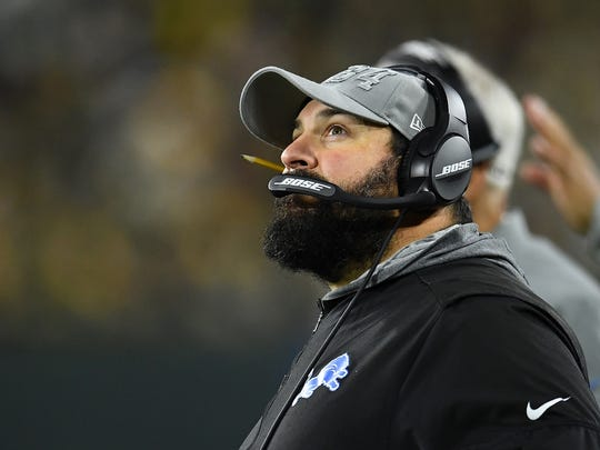 GREEN BAY, WISCONSIN - OCTOBER 14:  Head coach Matt Patricia of the Detroit Lions watches action during a game against the Green Bay Packers at Lambeau Field on October 14, 2019 in Green Bay, Wisconsin. (Photo by Stacy Revere/Getty Images)