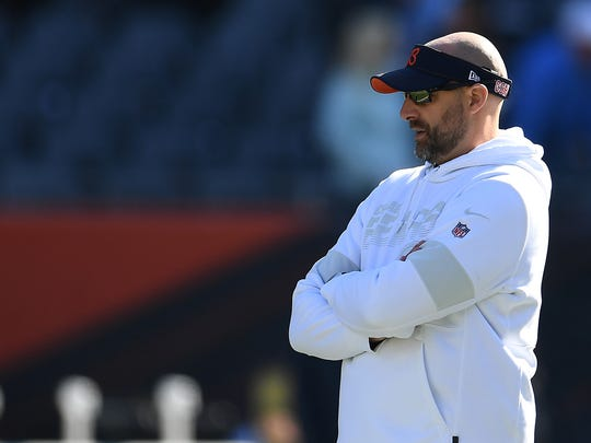 CHICAGO, ILLINOIS - OCTOBER 27:  Head coach Matt Nagy of the Chicago Bears watches action prior to a game against the Los Angeles Chargers at Soldier Field on October 27, 2019 in Chicago, Illinois. (Photo by Stacy Revere/Getty Images)