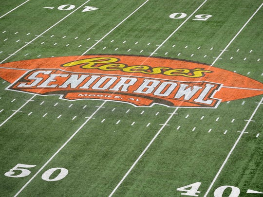 Jan 27, 2018; Mobile, AL, USA; General view of the Reese's center field logo during the 2018 Senior Bowl at Ladd-Peebles Stadium. Mandatory Credit: John David Mercer-USA TODAY Sports