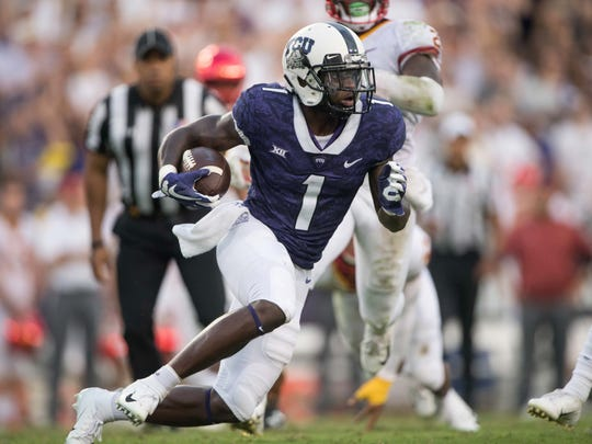 TCU Horned Frogs wide receiver Jalen Reagor (1) in action during the game against the Iowa State Cyclones at Amon G. Carter Stadium.