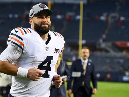CHICAGO, ILLINOIS - SEPTEMBER 29:  Chase Daniel #4 of the Chicago Bears leaves the field following a game against the Minnesota Vikings at Soldier Field on September 29, 2019 in Chicago, Illinois.  The Bears defeated the Vikings 16-6.   (Photo by Stacy Revere/Getty Images)