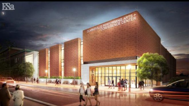 Rendering of a proposed Clarksville Performing Arts and Conference Center