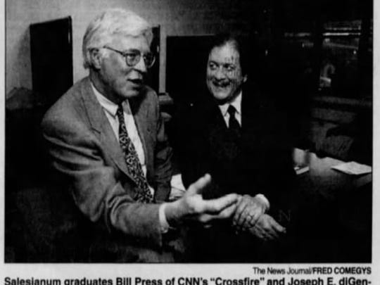 "Salesianum graduates Bill Press of CNN's ""Crossfire"" and Joseph E. diGenova, a Washington attorney, share a cordial moment in April 1997. (Fred Comegys/The News Journal)"