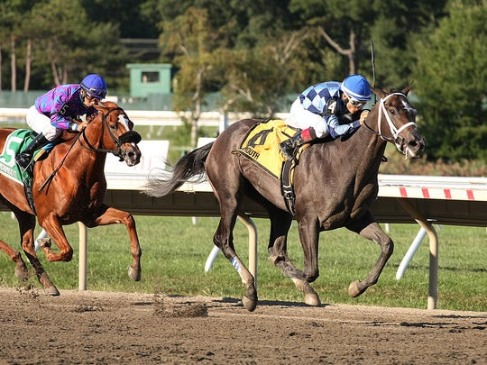 Sunny Ridge came with a wide run before opening up in the lane to capture the $100,000 Sapling Stakes at Monmouth Park last summer.