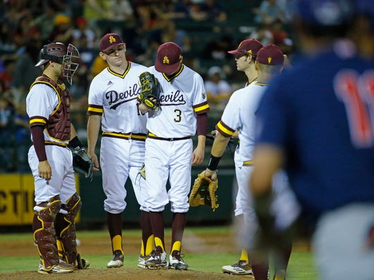 After giving up four runs Arizona State pitcher Chaz Montoya (3) gets pulled  against Arizona in the third inning of their NCAA baseball game Saturday May 20, 2017 in Phoenix, Ariz.