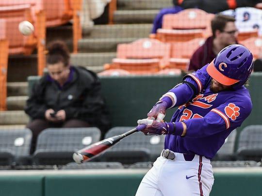 Clemson junior first baseman Seth Beer (28) hits a