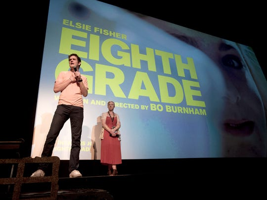 """Writer/director, Bo Burnham, introduces his film """"Eighth Grade"""" to the Michigan Theater crowd, Thursday night, May 31, 2018, in Ann Arbor. Burnham's film was part of the Cinetopia Film Festival taking place until June 10th in Ann Arbor and Detroit."""