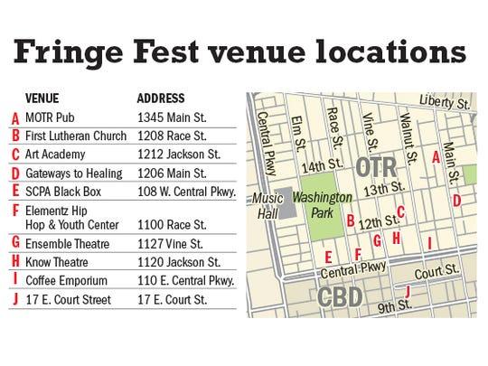 Map of Fringe Festival venues