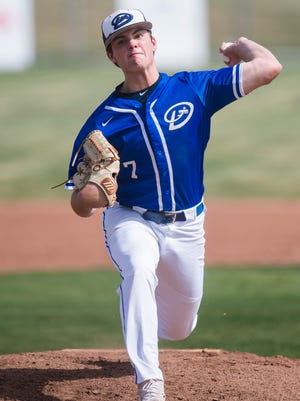 Dixie pitcher Cooper Vest throws the ball at Canyon View Tuesday, April 10, 2018.