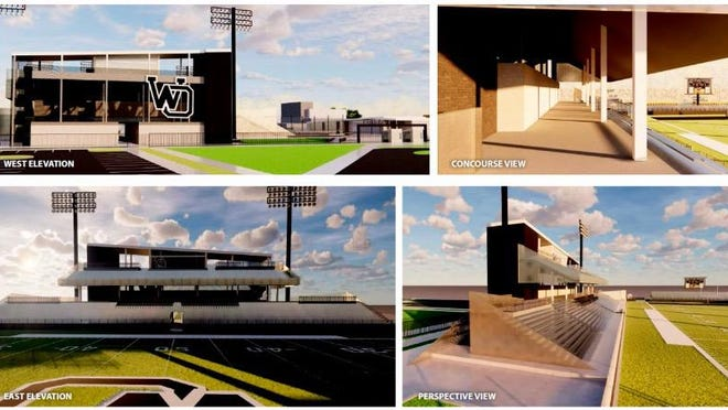 A screenshot of renderings showing potential looks for West Ottawa's new athletic stadium north of the high school, taken during the board of education meeting on Monday, April 27.