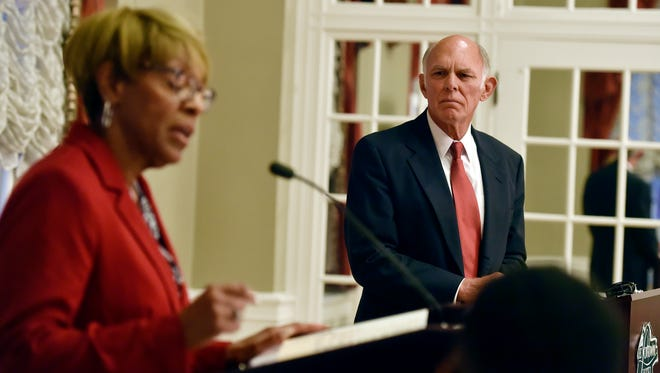 Carol Hill-Evans and Joel Sears participate in a debate for the 95th state House candidates Thursday, Oct. 6, 2016, at the Yorktowne Hotel. Carol Hill-Evans, a Democrat, is seeking to become York County's first black state representative, while Joel Sears hopes to be the first district's Republican representative since the 1980s.