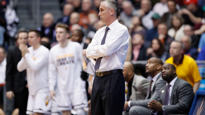 ASU coach Bobby Hurley of watches late in the game against Syracuse during their First Four game in the 2018 NCAA Tournament on March 14, 2018 in Dayton, Ohio.