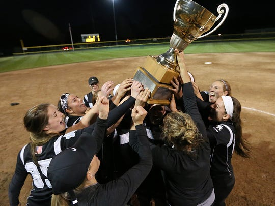 Bridgewater-Raritan celebrates its win over Montgomery in the Somerset County Tournament softball final.