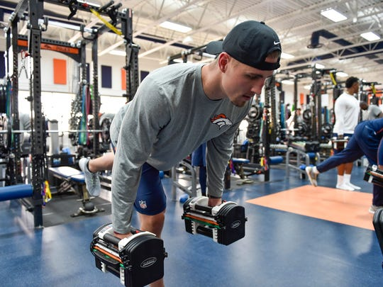 Denver Broncos tight end Jeff Heuerman (82) during the Denver Broncos Offseason Conditioning Program at UCHealth Training Center in Englewood, Colo. April 18, 2016. (Eric Bakke via AP)