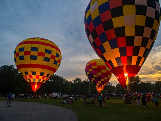 The hot air balloon show provided a colorful attraction during the Founders Festival.