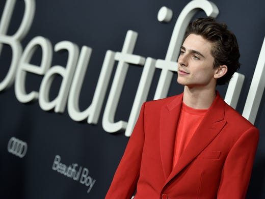 "Timothee Chalamet attends the premiere of his new film ""Beautiful Boy,"" on Monday, in Beverly Hills."