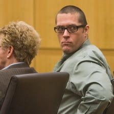 Bryan Wayne Hulsey looks around as the jury convicts him of first-degree murder and attempted first degree murder in Maricopa County Superior Court July 28, 2014.