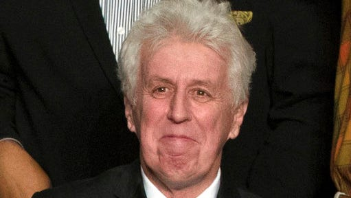 """FILE - In this Dec. 15, 2016, photo, CNN commentator Jeffrey Lord, appears at a rally for President-elect Donald Trump in Hershey, Pa. Lord made a comparison of Trump to Martin Luther King Jr., on CNN's morning """"New Day.""""  He is one of a handful of pro-Trump commentators that CNN hired during the last election."""