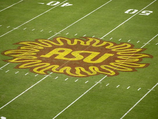 Arizona State sunbrust logo against San Diego State