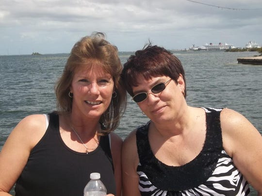 Maggie DeMeuse (left) credits her sister, Betty Schulze, with being her lifeline through her second battle with cancer. Last spring they were in Florida enjoying the sun.